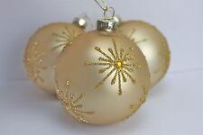 GISELA GRAHAM CHRISTMAS MATT GOLD AMBER JEWEL STAR GLASS BAUBLE BALL  X 3