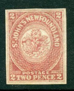 Weeda Newfoundland 17 VF MNG 2d rose imperf 1861-62 Pence issue CV $200
