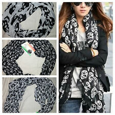 Skull Sheer Black White fashion Scarf Made in Italy A MUST HAVE SCARVE !!
