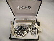 Chain And Knife New Reduced Colibri Black Face Silvertone Pocketwatch W/Date