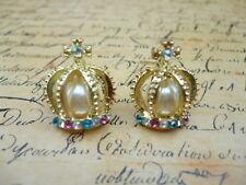 Gold Pearl Crystal Fairytale Queen Crown Princess Costume Jewellery Earrings