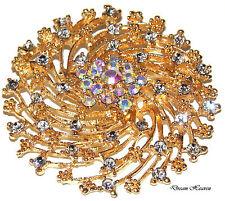 Swirl Diamante Flower Rhinestone Broach Crystal Wedding Party Diamonte Brooch