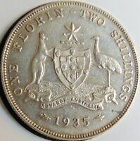 1935 AUSTRALIA George V, silver  Florin, Grading About EXTRA FINE.