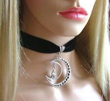 Wolf & Moon Black Velvet 22mm Choker Necklace Gothic Pagan Wicca Free UK Postage