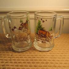 VINTAGE SET OF 2 WHITETAIL DEER BUCK W/ QUAIL GEESE GLASS BEER MUGS CABIN