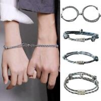 2Pcs Friendship Rope Braided Distance Couple Magnetic Bracelet Lover Jewelry ~ly