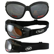 Eliminator Black Frame Motorcycle Goggles with Driving Mirror Shatterproof
