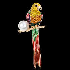 Large Enamel Crystal Parrot Brooch Pin Diamante Rhinestone Pearl Women Broach