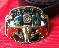 TEXAS USA LONE STAR STATE BULLS HEAD RODEO STEER LONGHORN BUCKLE LEATHER BELT