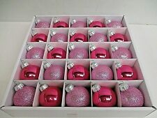 "25 Pink Shiny Glitter Glass Ball Christmas Ornaments 1.77"""