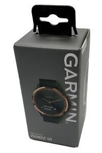 Garmin vívomove HR 43mm Sport Hybrid-Smartwatch - Roségold mit Schwarzem Silikon