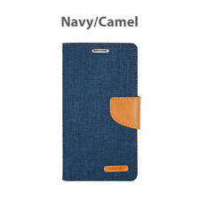 iPhone X 8 7 6 5 SE Plus  Hard Leather Wallet Card Case Canvas Flip Cover