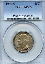 1935-S Silver Washington Quarter Coin Professionally Graded by PCGS as MS65
