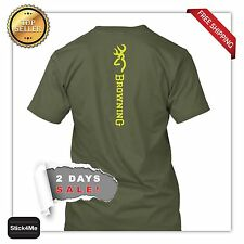GREEN PRINT VERTICAL BROWNING LOGO T SHIRT BACKFRONT  PRINTING Style HUNTING