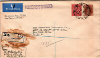 India 1937 Registered Airmail Cover to USA  - Z12796