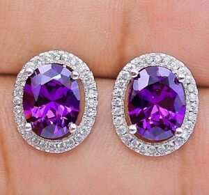 2CT Amethyst & White Topaz 925 Solid Sterling Silver Earrings Jewelry