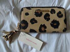 Rebecca Taylor Camel Leopard Zip-Around Wallet Clutch leopard NWT $195