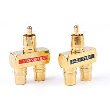 RCA Audio Y Splitter Plug Fiche 1 Male to 2 Femelle Plaqué Or Connecteur