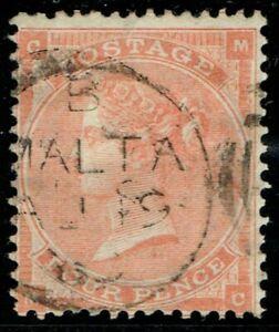Malta 1862 SGZ48 4d Red Pl 13 MC MALTA CDS Fine Used Cat. £120.00+