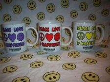 Lot of 3 Hampton Beach, NH Smiley Face Coffee Cup/Mugs, Peace Love Happiness New