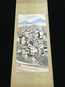Chinese Old Wu Guanzhong Watercolor Scroll Painting Water town, Landscape