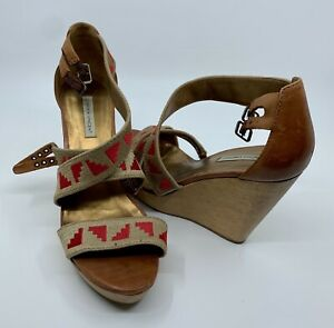 Cynthia Vincent Brown & Red Strappy wedge