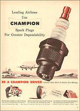 1950 vintage  auto parts AD Leading Airlines use CHAMPION SPARK PLUGS 072417