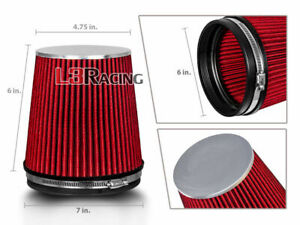 """RED 6 Inches 6"""" 152mm Inlet Cold Air Intake Cone TRUCK FILTER For Pontiac"""
