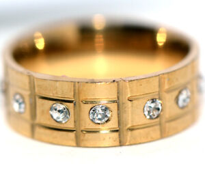 Around Crystal CZ Yellow Gold Womens Mens Band Ring Jewelry Hiphop Ring Size 7