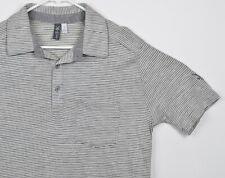 Ibex Men's Sz Small 100% Merino Wool Gray White Striped Pocket Polo Shirt