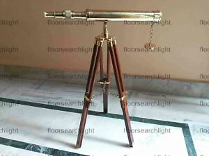 18 Inch Nautical Brass Telescope With Wooden Tripod Stand Collectible Desk Decor