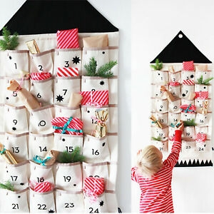Fill-Your-Own Fabric Advent Calendar For Christmas Up Hanging Pockets 24