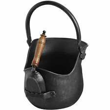 BLACK BRUSHED STEEL COAL BUCKET WITH SHOVEL = LOVELY STORAGE SOLOUTION FOR HOME.