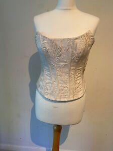 David Fielden Sposa Wedding Cream Ivory Damask Boned Silk Bodice Bustier 8