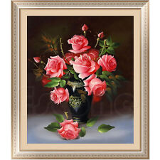5d Rose Flower DIY Diamond Painting Cross Stitch Kit Home Wall Art Decor Crystal Pink