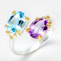 Голубой топаз Амети Natural Blue Topaz-Amethyst 925 Sterling Silver Ring / RVS42