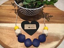 Silicone Sensory (was teething) Necklace for Mum Jewellery Beads Aus Navy Gift