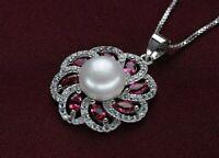 Silberkette Anhänger 925 Sterling Silber Süßwasser Perle Silberschmuck Halskette