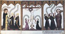 Lot de 3 Tableaux Anciens Peintures Triptyque Scène Religieuse Christ Croix XXe
