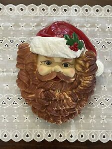 """Vintage Motion Activated Santa Claus Face 10"""" Lights Music Wall Door Christmas"""