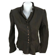 Boston Proper Pleated Peplum Jacket Brown Cotton Brass Buttons Steampunk Size 4
