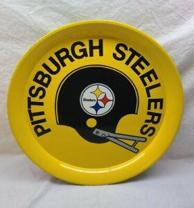 "Vintage 1970s PITTSBURGH STEELERS NFL Metal Serving Tray 14""  mancave decoration"