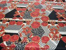 HEAVY STRETCH JERSEY-LARGE GEOMETRIC FLORAL-DRESS  FABRIC-FREE P+P