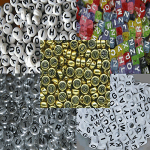 Alphabet Single Letter Beads A-Z Flat Round or Cube pack of 10 Pieces 7 or 6 mm