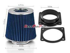 BLUE Mass Air Flow Sensor Intake MAF Adapter + Filter For 95-01 B4000 4.0L V6