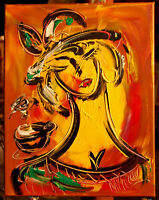 MODERN ABSTRACT COFFEE GIRL by Mark Kazav     Original Oil Painting IMDFGN