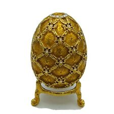 Faberge Egg Gold Enamel with Rhinestones & Stand Magnet Closure Weigh 3.80 Oz.
