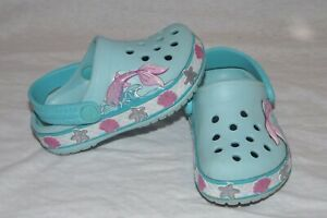 Crocs blue seashell mermaid tail shoes water clogs C5 toddler HCB pink blue star