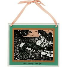 New Mermaid Wild, Beautiful & Free Glass Panel Plaque Primitives By Kathy - Nwt