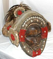 Vtg West African Dan Deangle Gioh Yacuba Wood Cowrie Feather Headdress Mask